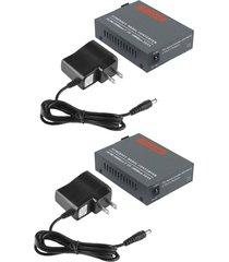 un par convertidor de medios de fibra 10/100/1000 mbps adaptador de fibra monomodo
