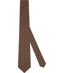gucci gg check-pattern organic-wool tie - brown