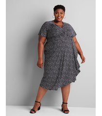 lane bryant women's faux-wrap midi dress 22/24 dot print
