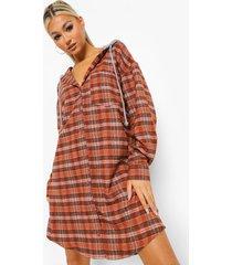 tall geruite blouse jurk met capuchon, orange