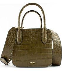 lancel shiny crocodile-style khaki leather handbag