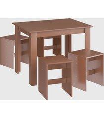 conjunto mesa 4 banquetas ceramic mã³veis canã§ã£o marrom - marrom - dafiti