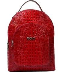 mochila de couro recuo fashion bag croco cereja