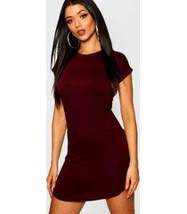 basic curved hem t-shirt dress, berry
