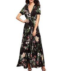 vestidos de mujer de impresión con cuello en v vestidos de playa - negro