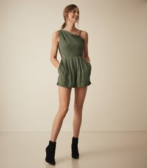 reiss river - asymmetric shoulder playsuit in khaki, womens, size 10