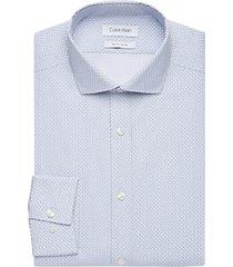 calvin klein blue patterned slim fit dress shirt