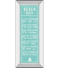 "classy art beach rules by the vintage - like collection mirror framed print wall art - 18"" x 42"""