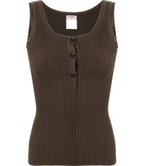 chanel pre-owned ribbed cc vest - brown