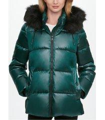 dkny high-shine faux-fur trim hooded puffer coat