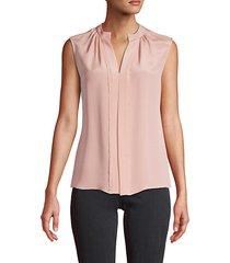 pleated sleeveless silk blouse