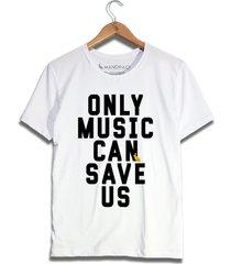 camiseta only music can save us mandrac branca - branco - masculino - algodã£o - dafiti