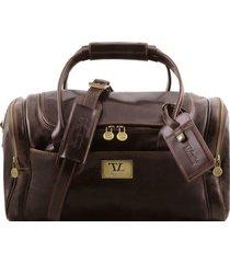 tuscany leather tl141441 tl voyager - borsone viaggio in pelle con tasche laterali - misura piccola testa di moro