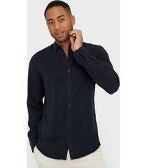 only & sons onsatlas life ls dyed tencel shirt skjortor mörk blå