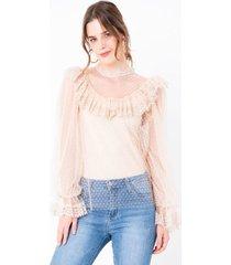 blusa plumeti semitransparente manga larga