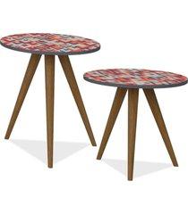 kit com mesa de canto e mesa lateral lyam decor retrã´ estampa vermelho - vermelho - dafiti