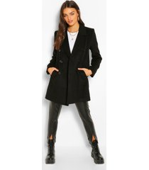 nepwollen jas met dubbele knopen, black