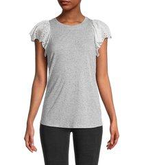 rebecca taylor women's eyelet sleeve t-shirt - grey melange - size l
