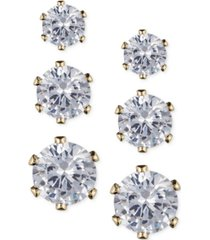 anne klein glass stone stud earring set