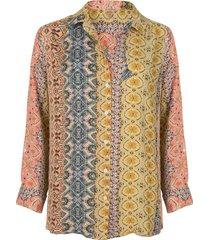 blouse border print multicolor