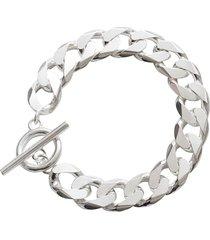 all blues moto chain-link bracelet - silver