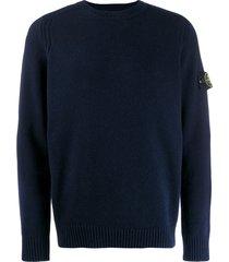 stone island compass badge sweater - blue