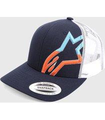 gorra azul navy-blanco-multicolor alpinestars angle strerchmeshmilitary