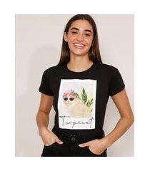 """camiseta de algodão gato com óculos tropicat"""" manga curta decote redondo preta"""""""