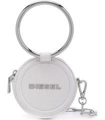 diesel round chain wallet - white