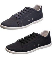 kit 2 sapatênis sapato casual mavi cinza e preto
