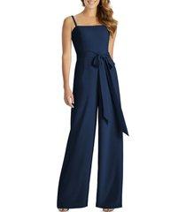women's dessy collection alana crepe wide leg jumpsuit, size 18 - blue