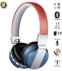 audífonos gamer, bt-008 libres audifonos bluetooth manos libres auriculares plegables con cuero stent + hd mic fuerte estéreo bajo + cable de doble modo 4 colores (azul)