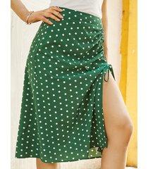 yoins falda a media pierna con cordón de lunares verde oscuro