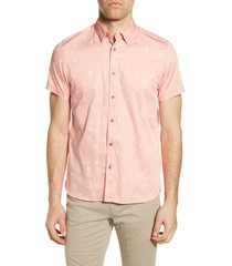 men's big & tall ted baker london slim fit tropical print short sleeve button-up shirt, size 5 - pink