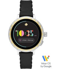 kate spade new york women's scallop black silicone strap touchscreen smart watch 41mm, powered by wear os by google