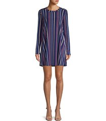 striped long-sleeve a-line dress