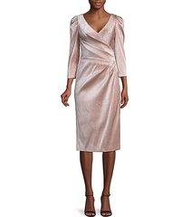 sparkle puff-sleeve wrap dress