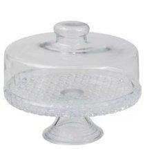 boleira colonial com tampa e pedestal prato para bolo de vidro