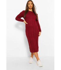cable knit midi dress, berry