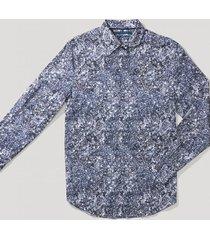 camisa casual estampada azul perry ellis