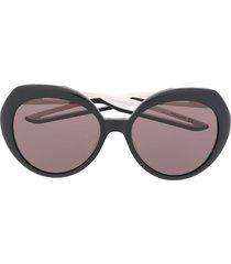 balenciaga eyewear hybrid round-frame sunglasses - black