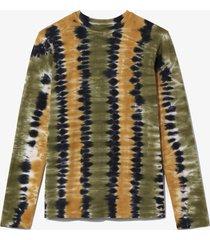 proenza schouler white label tie dye long sleeve t-shirt olive/military/black/green m