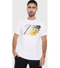 camiseta blanco-amarillo-azul new balance classic heritage graphic tee
