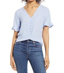 women's cece ruffle sleeve crepe blouse, size large - blue