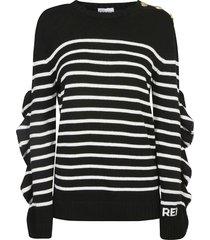 red valentino ruffle sided stripe sweater