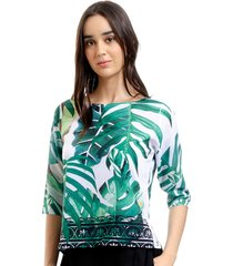 blusa 101 resort wear tunica crepe estampada folhagem verde