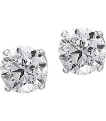 0.98 tcw diamond and 14k white gold round stud earrings