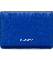 balenciaga printed logo mini wallet - blue