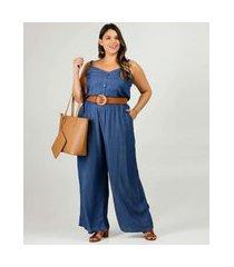 macacão plus size feminino jeans alças finas