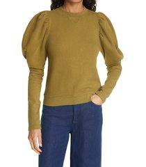 women's ulla johnson philo puff bishop sleeve sweatshirt, size x-large - green